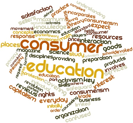 activists: Abstract word cloud for Consumer education with related tags and terms Stock Photo