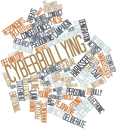defamation: Abstract word cloud for Cyberbullying with related tags and terms