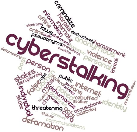 assailant: Abstract word cloud for Cyberstalking with related tags and terms