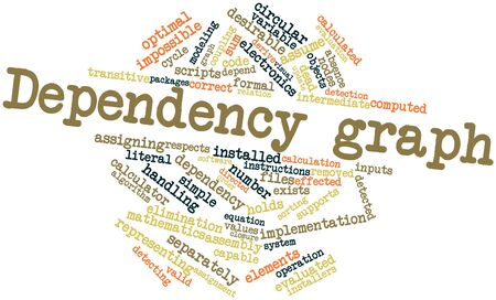 optimal: Abstract word cloud for Dependency graph with related tags and terms Stock Photo