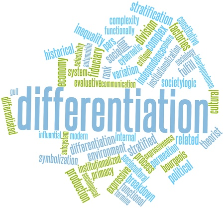 ascribed: Abstract word cloud for Differentiation with related tags and terms Stock Photo