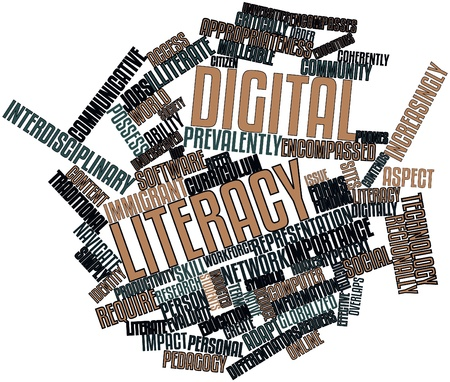 recruiters: Abstract word cloud for Digital literacy with related tags and terms