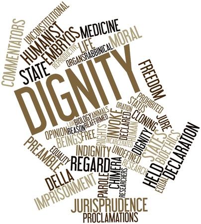 valores morales: Nube palabra abstracta por la Dignidad de las etiquetas y t�rminos relacionados Foto de archivo