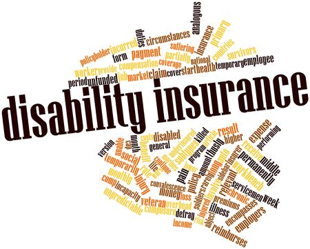 handicapped: Abstract word cloud for Disability insurance with related tags and terms