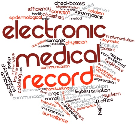 administration: Abstract word cloud for Electronic medical record with related tags and terms