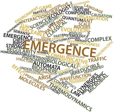 Abstract word cloud for Emergence with related tags and terms Stock Photo - 16571934
