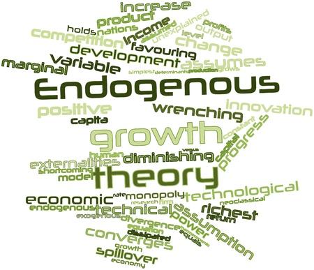 onbepaalde: Abstract woordwolk voor Endogene groeitheorie met gerelateerde tags en voorwaarden Stockfoto