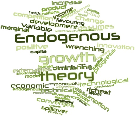 endogenous: Abstract word cloud for Endogenous growth theory with related tags and terms