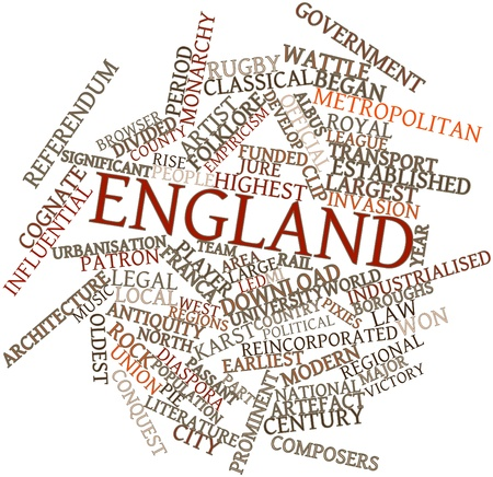 industrialised: Abstract word cloud for England with related tags and terms Stock Photo