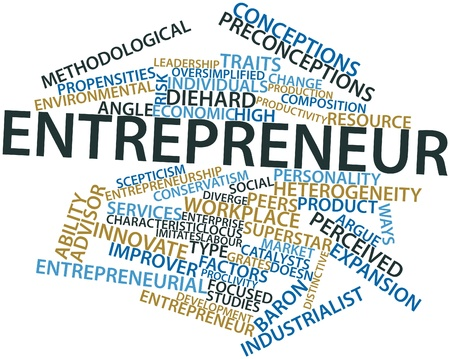 opportunity concept: Abstract word cloud for Entrepreneur with related tags and terms Stock Photo