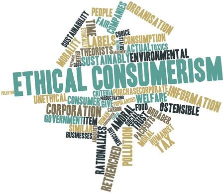Abstract word cloud for Ethical consumerism with related tags and terms photo