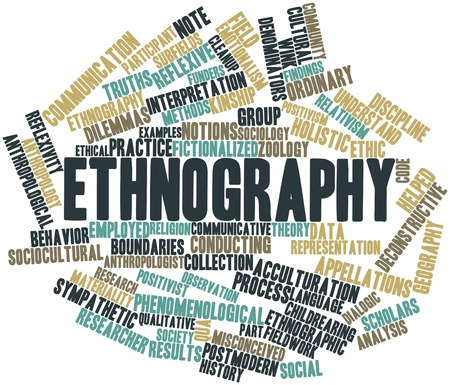 findings: Abstract word cloud for Ethnography with related tags and terms Stock Photo