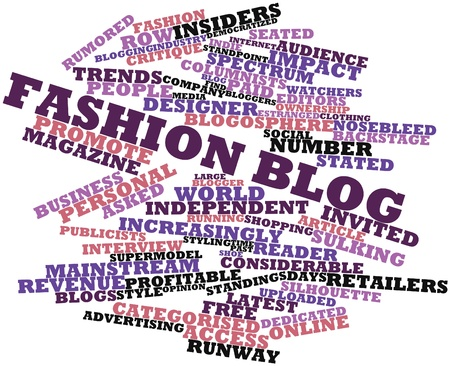 bloggers: Abstract word cloud for Fashion blog with related tags and terms Stock Photo