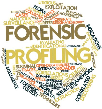 quantities: Abstract word cloud for Forensic profiling with related tags and terms Stock Photo