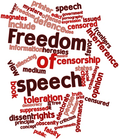 scribes: Abstract word cloud for Freedom of speech with related tags and terms Stock Photo