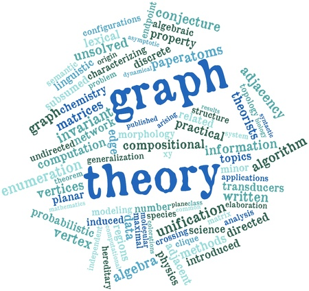 Nube de la palabra abstracta de la teoría de gráficos con etiquetas y términos relacionados Foto de archivo