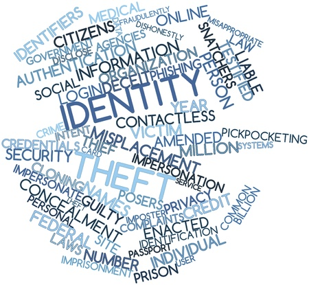 punishable: Abstract word cloud for Identity theft with related tags and terms Stock Photo