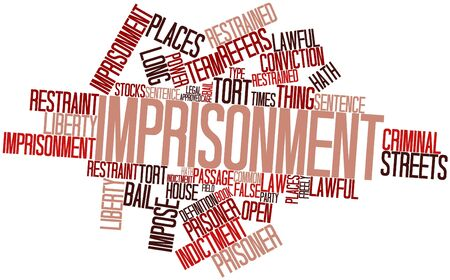restrained: Abstract word cloud for Imprisonment with related tags and terms Stock Photo