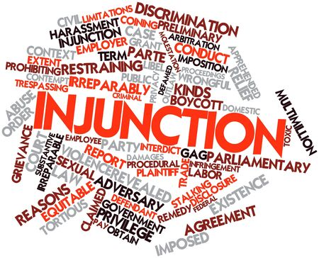 proceedings: Abstract word cloud for Injunction with related tags and terms Stock Photo