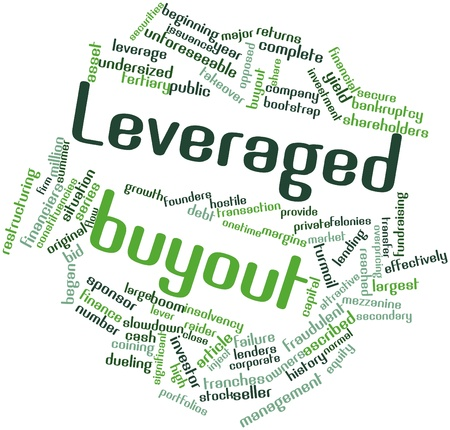 hostile: Abstract word cloud for Leveraged buyout with related tags and terms Stock Photo