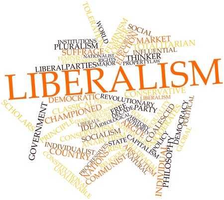 democracies: Abstract word cloud for Liberalism with related tags and terms
