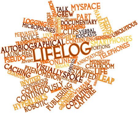 Abstract word cloud for Lifelog with related tags and terms Stock Photo