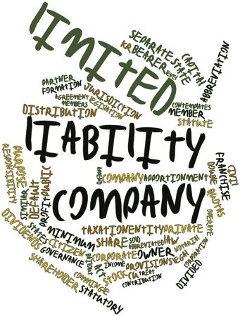 Abstract word cloud for Limited liability company with related tags and terms