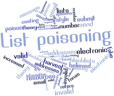 spammer: Abstract word cloud for List poisoning with related tags and terms Stock Photo