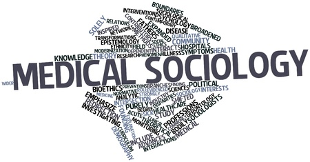 intervention: Abstract word cloud for Medical sociology with related tags and terms Stock Photo