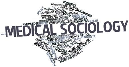 sociologia: Nube palabra abstracta para la sociolog�a m�dica con etiquetas y t�rminos relacionados Foto de archivo