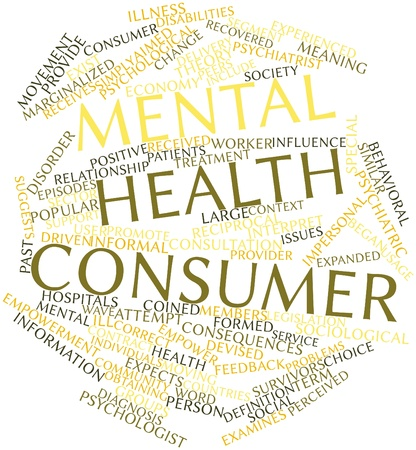 Abstract word cloud for Mental health consumer with related tags and terms photo