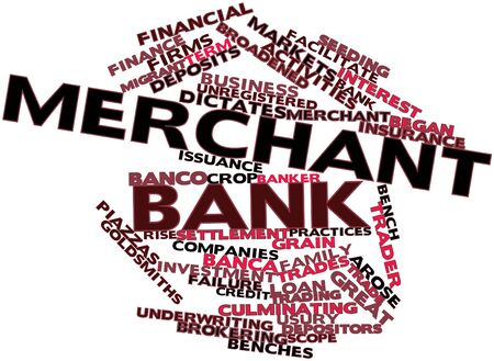Abstract word cloud for Merchant bank with related tags and terms