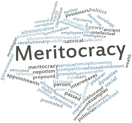 coined: Abstract word cloud for Meritocracy with related tags and terms