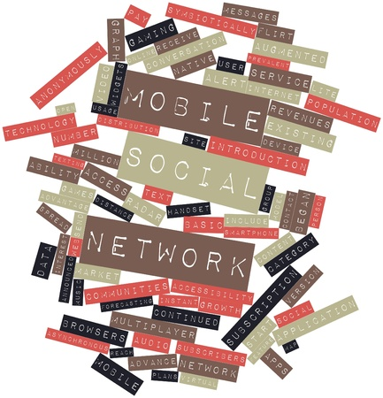 Abstract word cloud for Mobile social network with related tags and terms Stock Photo - 16571955