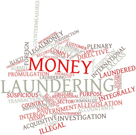 laundering: Abstract word cloud for Money laundering with related tags and terms