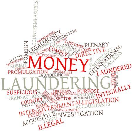 money laundering: Word cloud astratto per il riciclaggio di denaro sporco con tag correlati e termini