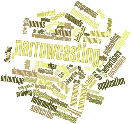 podcasting: Abstract word cloud for Narrowcasting with related tags and terms Stock Photo