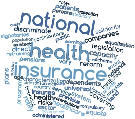 incurred: Abstract word cloud for National health insurance with related tags and terms