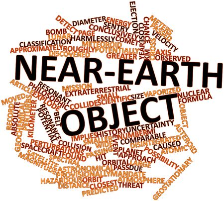 mandate: Abstract word cloud for Near-Earth object with related tags and terms Stock Photo