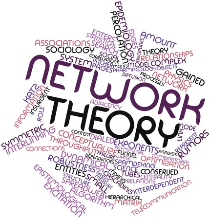 interdependent: Abstract word cloud for Network theory with related tags and terms