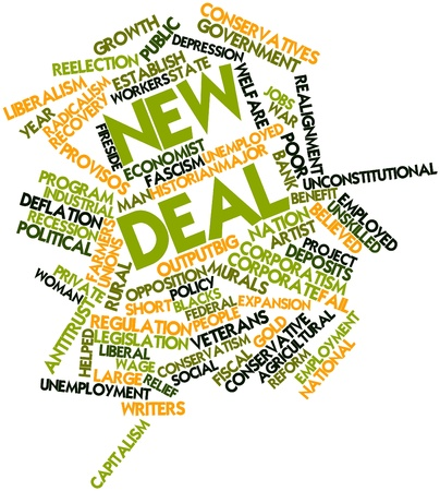 unskilled worker: Abstract word cloud for New Deal with related tags and terms