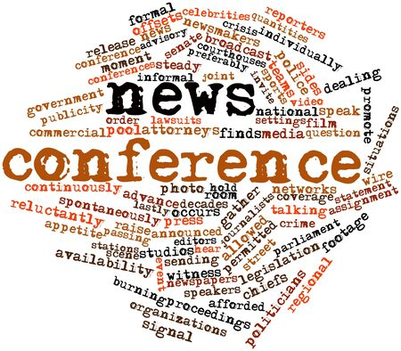 publicity: Abstract word cloud for News conference with related tags and terms