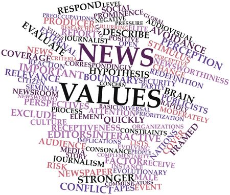 relevance: Abstract word cloud for News values with related tags and terms Stock Photo
