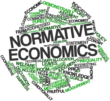 Abstract word cloud for Normative economics with related tags and terms Stock Photo
