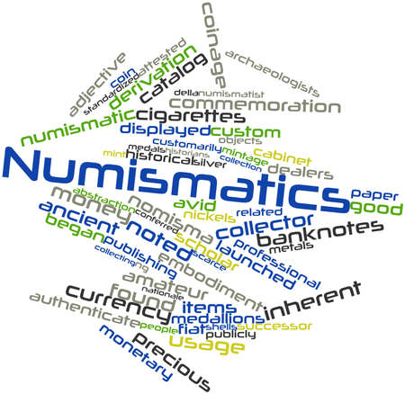 derivation: Abstract word cloud for Numismatics with related tags and terms Stock Photo