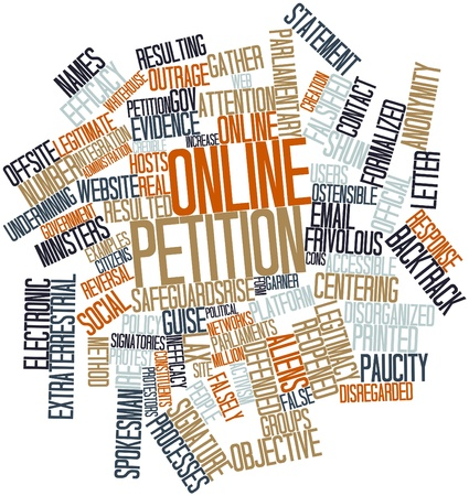 centering: Abstract word cloud for Online petition with related tags and terms Stock Photo