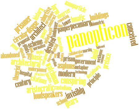 Abstract word cloud for Panopticon with related tags and terms Stock Photo