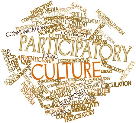 interactivity: Abstract word cloud for Participatory culture with related tags and terms