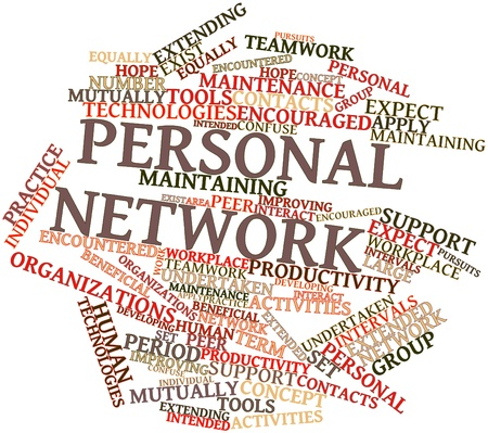 peer: Abstract word cloud for Personal network with related tags and terms Stock Photo
