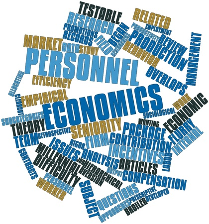 rigor: Abstract word cloud for Personnel economics with related tags and terms Stock Photo